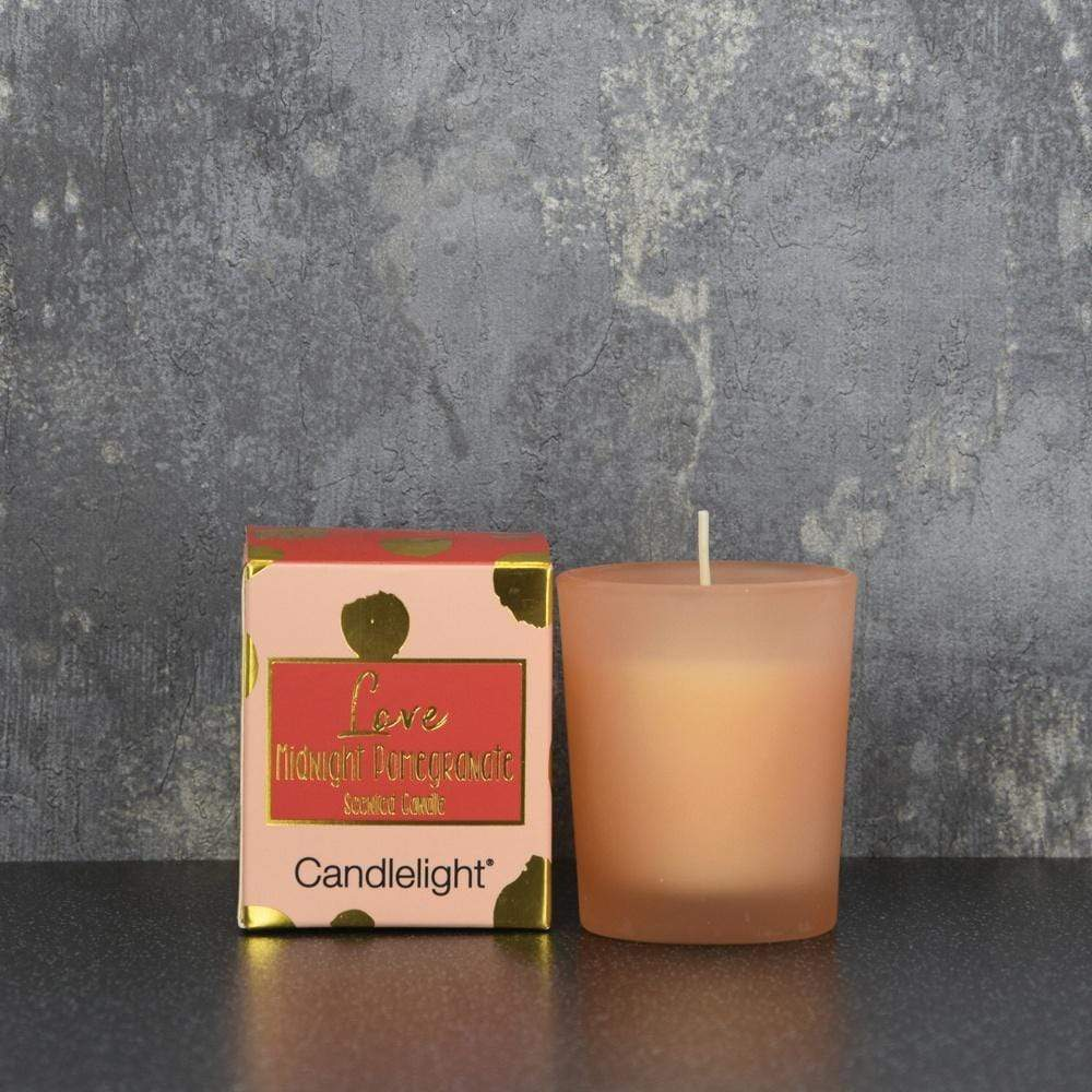 Candlelight Home Boxed Candle Candlelight Love Small Wax Filled Pot Candle in Gift Box Midnight Pomegranate Scent 60g 6PK