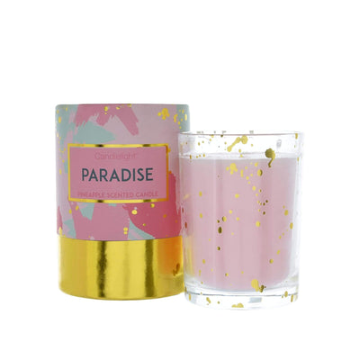 Candlelight Home Boxed Candle Candlelight Paradise Wax Filled Pot Candle in Gift Box Pineapple Scent 220g 6PK