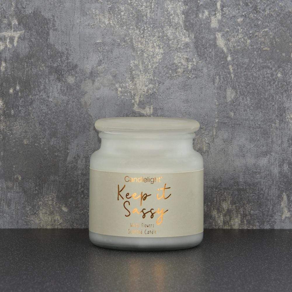 Candlelight Home Candle Candlelight Keep it Sassy Large Wax Filled Pot Candle White Flowers Scent 380g 6PK