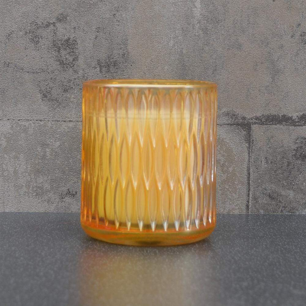 Candlelight Home Candle Embossed Glass Wax Filled Pot Candle Prosecco Scent 190g 6PK