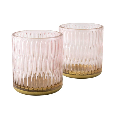 Candlelight Home Candle Holders Set of Two Tealight Holders Textured Glass Dusky Pink in Gift Box 6PK