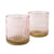 Set of Two Tealight Holders Textured Glass Dusky Pink in Gift Box 6PK