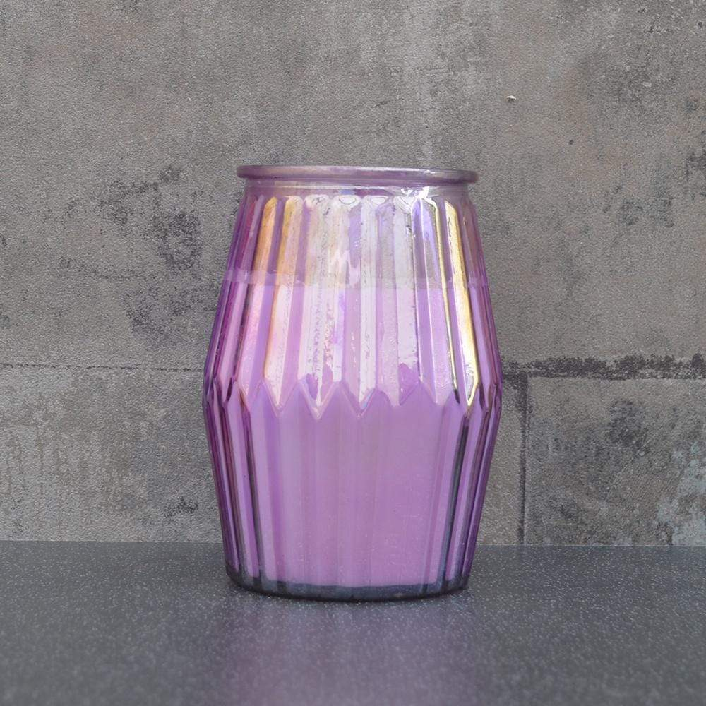 Candlelight Home Candle Ridged Glass Wax Filled Pot Candle Lavender and Sagewood Scent 360g 6PK