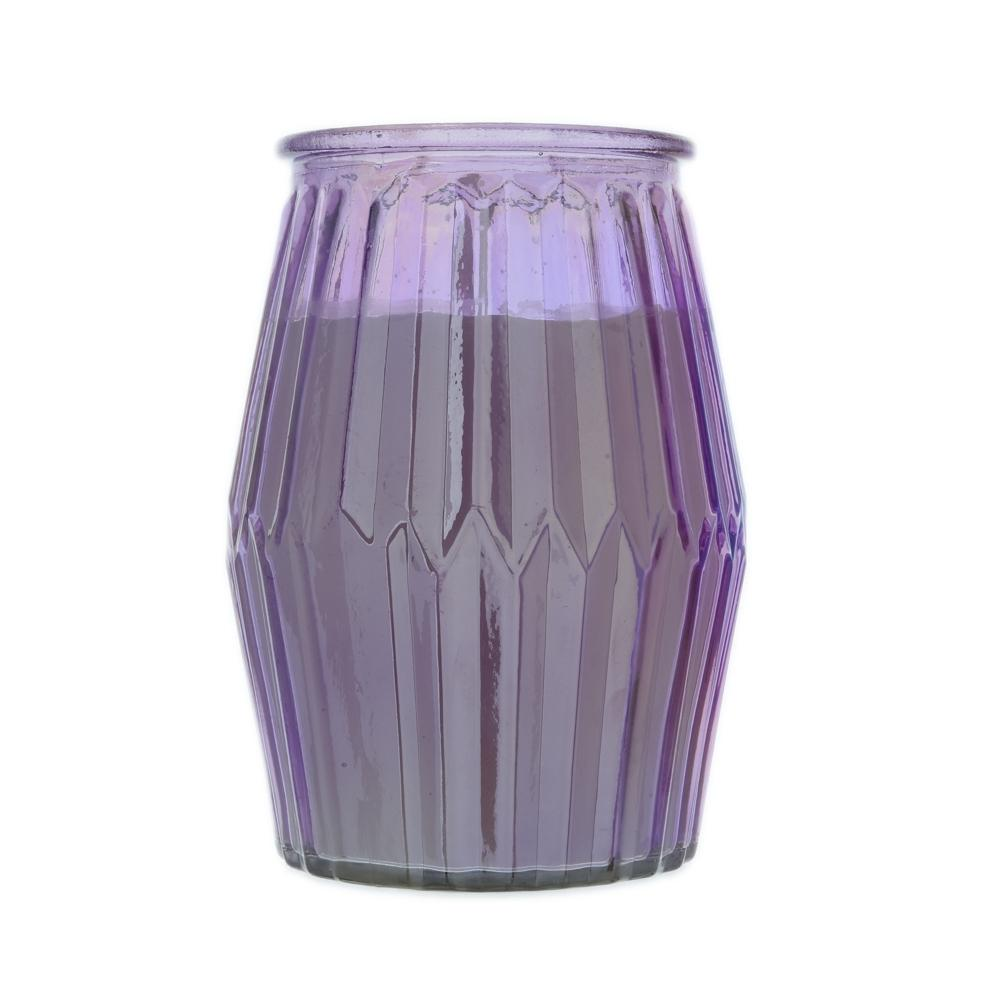 Ridged Glass Wax Filled Pot Candle Lavender and Sagewood Scent 360g 6PK
