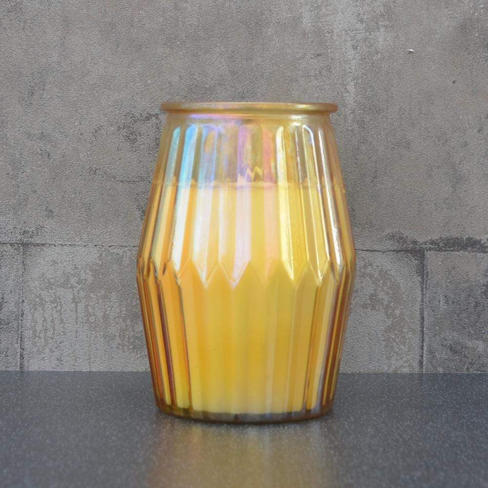 Candlelight Home Candle Ridged Glass Wax Filled Pot Candle Orange and Grapefruit Scent 360g 6PK
