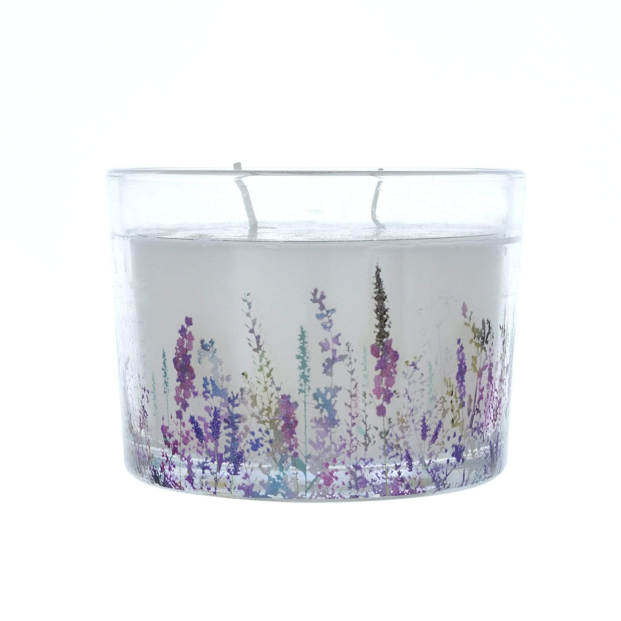 Summer Meadows 2 Wick Glass Wax Filled Pot Candle Floral 8cm 6PK