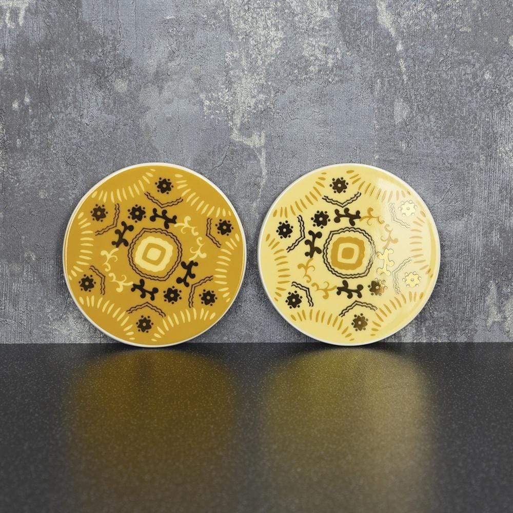 Bohemian Assorted Coasters Ochre and Gold 10cm 8PK