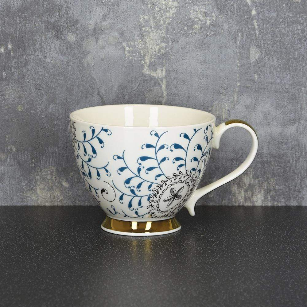 Bohemian Footed Mug Blue and Gold 9.7cm 6PK