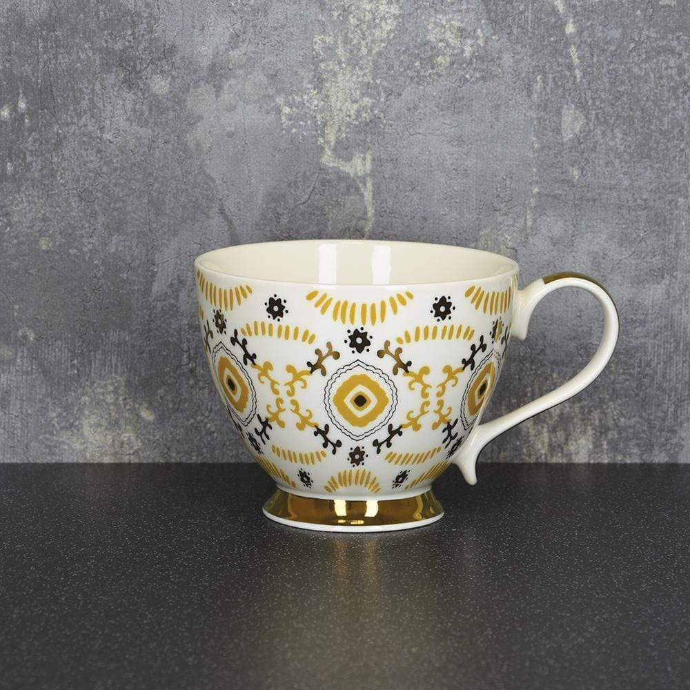 Candlelight Home Cups Bohemian Footed Mug Ochre and Gold 9.7cm 6PK