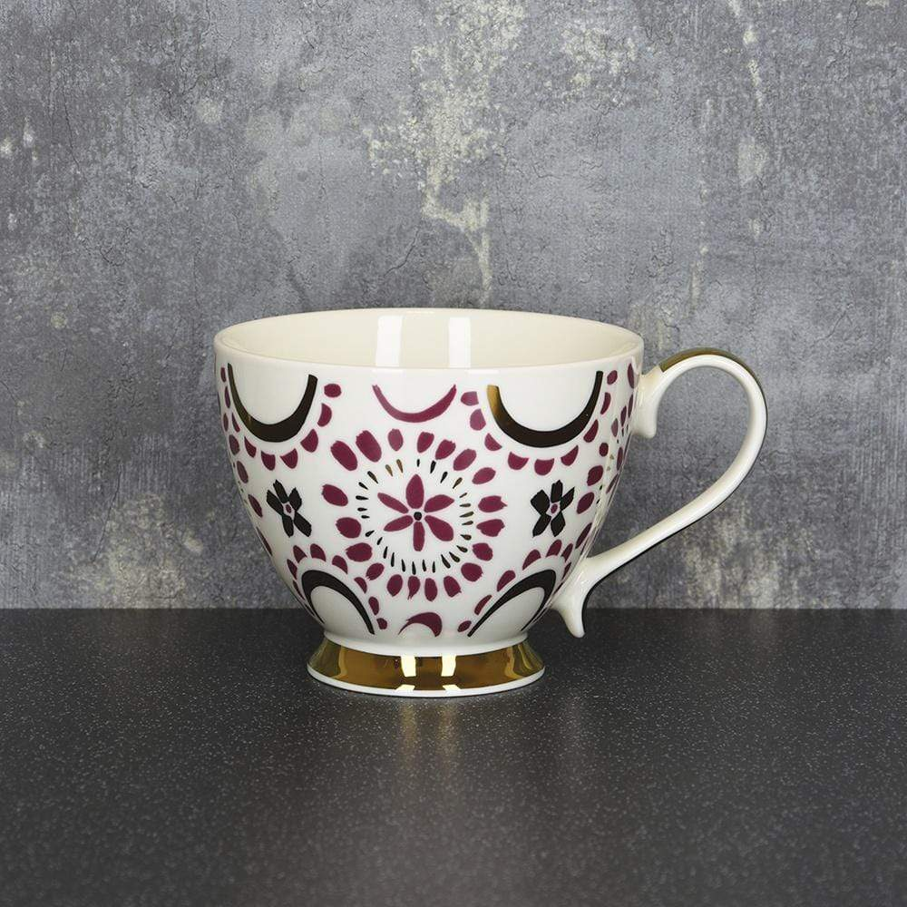 Bohemian Footed Mug Plum and Gold 9.7cm 6PK