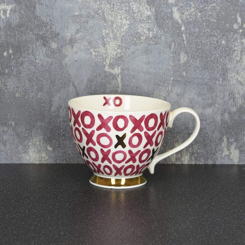 Hugs & Kisses Footed Mug Pink and Gold 9.7cm 6PK