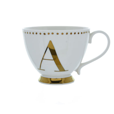 Candlelight Home Cups Initial Footed Mug A Gold Electroplated 9cm 6PK