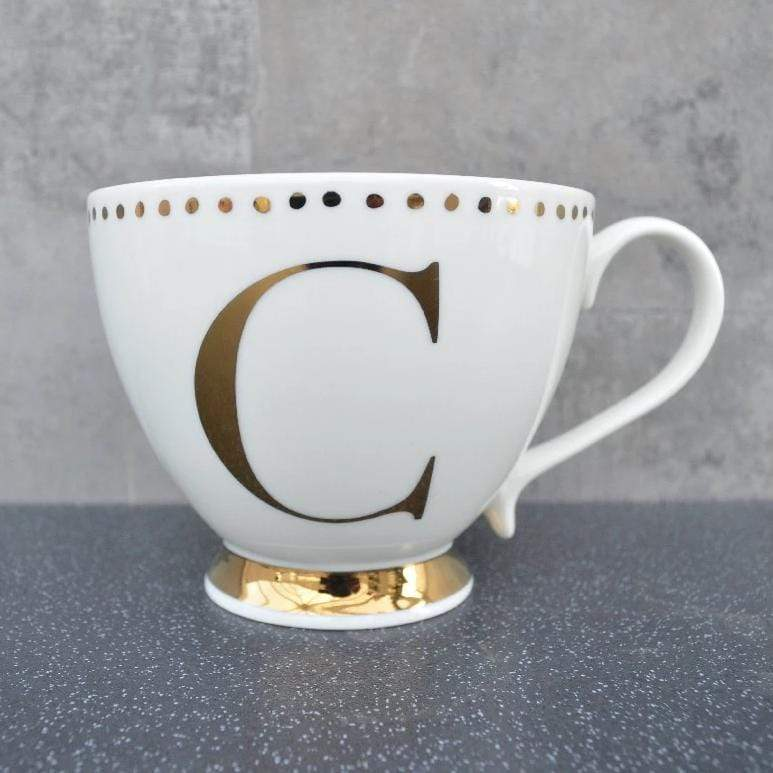 Candlelight Home Cups Initial Footed Mug C Gold Electroplated 9cm 6PK