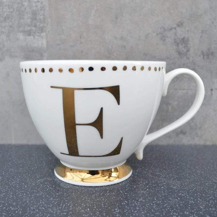 Candlelight Home Cups Initial Footed Mug E Gold Electroplated 9cm 6PK