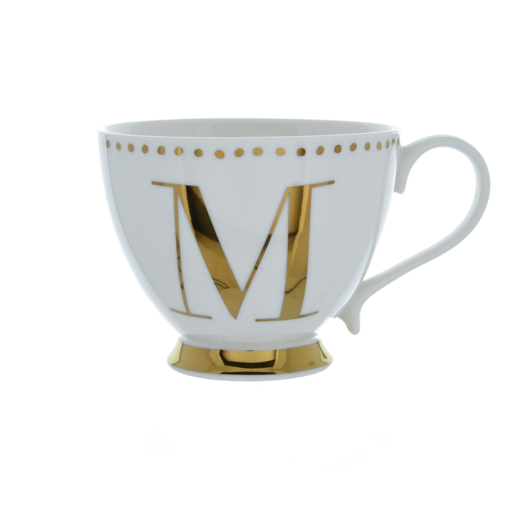 Candlelight Home Cups Initial Footed Mug M Gold Electroplated 9cm 6PK