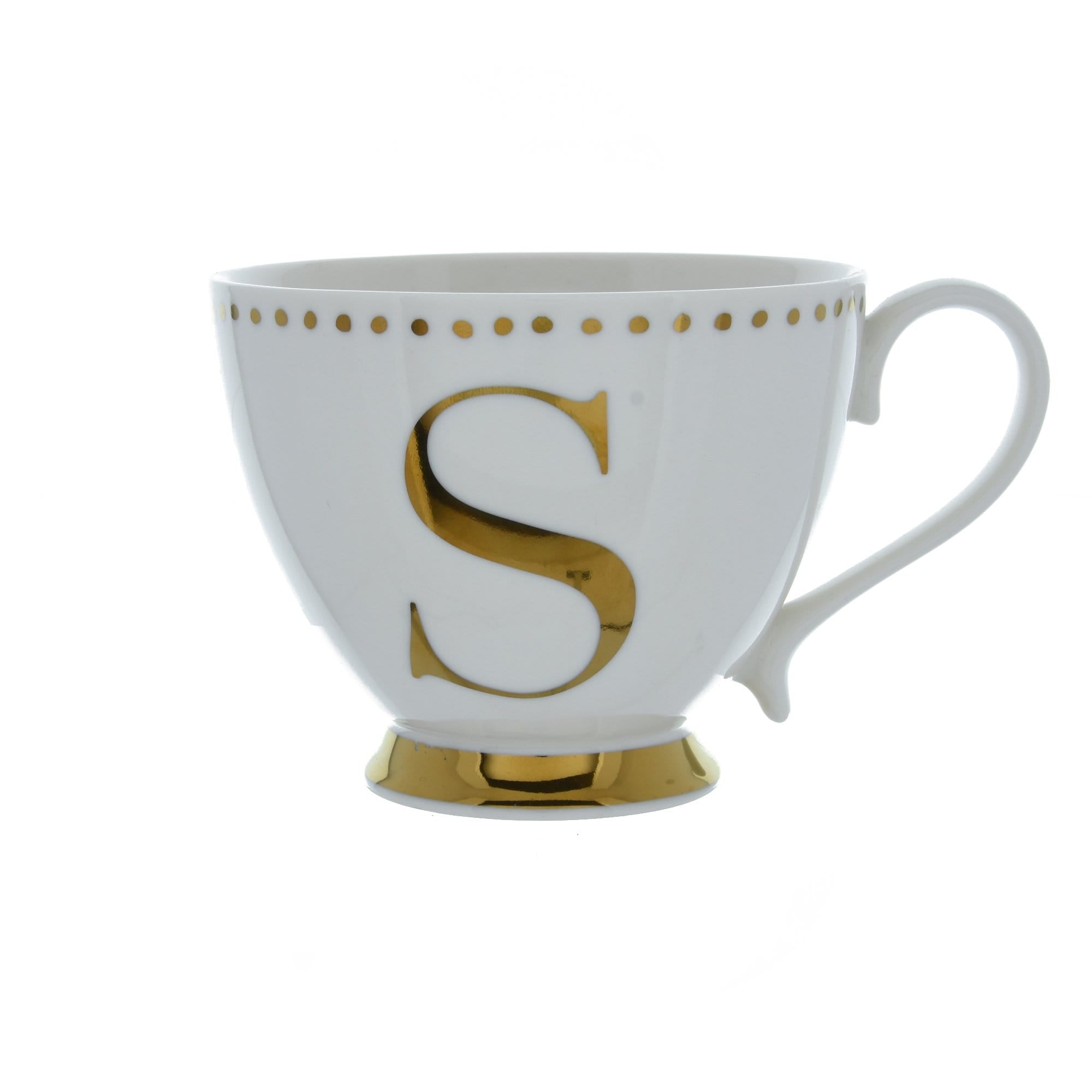 Candlelight Home Cups Initial Footed Mug S Gold Electroplated 9cm 6PK