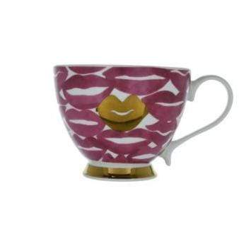Candlelight Home Cups Lips Footed Mug Pink and Gold 9.7cm 6PK