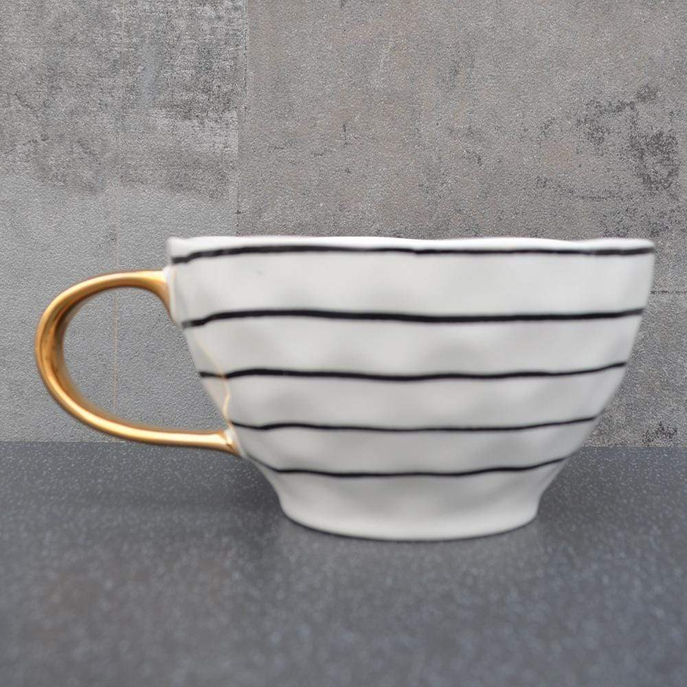 Candlelight Home Cups Stripe Wave Top Mug Black and Gold 6.5cm 2PK