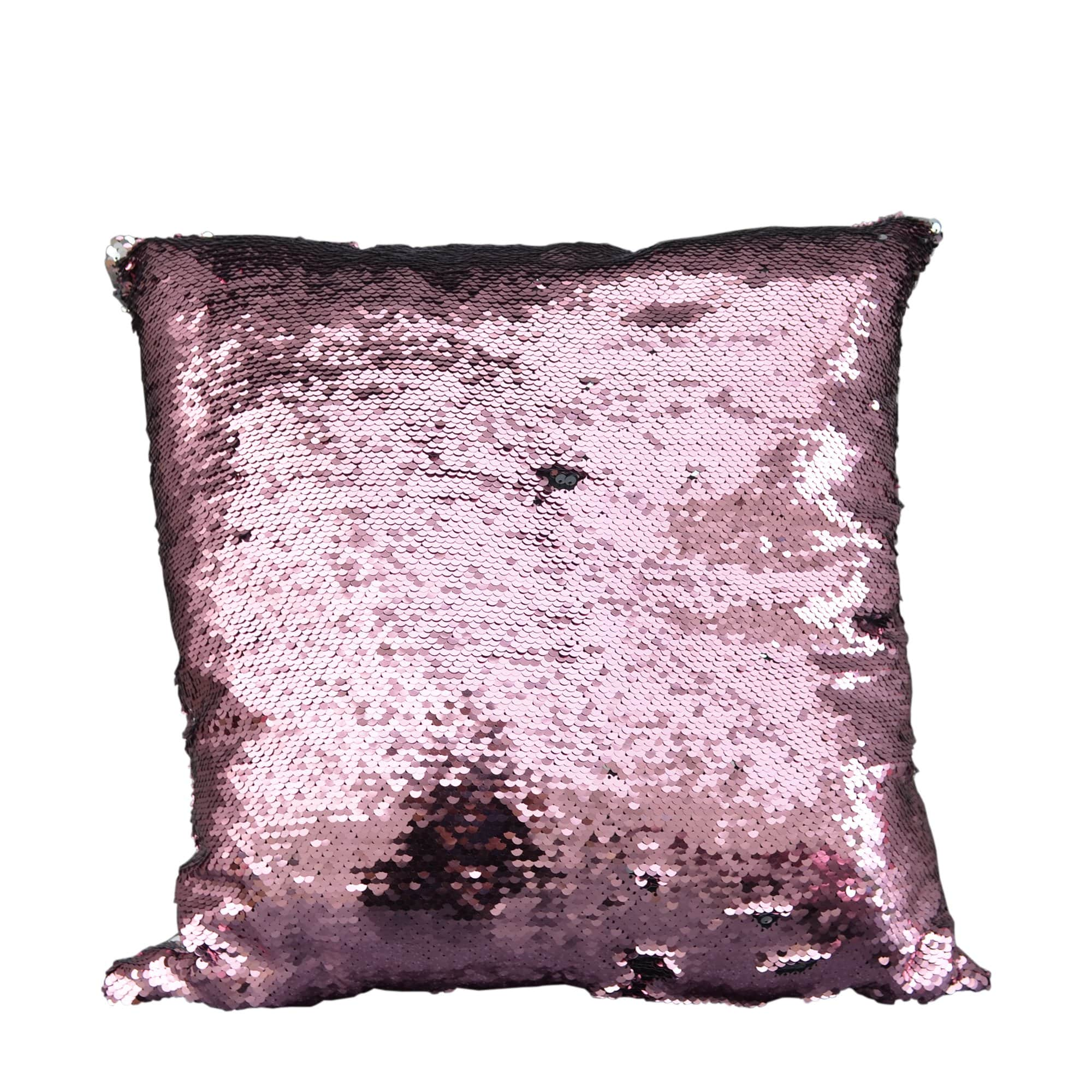 Candlelight Home Cushions Sequin Covered Large Cushion Cover Silver and Pink 45cm 1PK