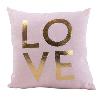 Candlelight Home Cushions & Throws Pink Velvet Fabric 'With Love' Filled Cushion 25cm 4PK