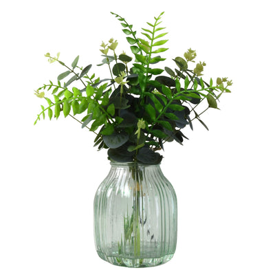 Candlelight Home Faux Greenery in Pale Green Coloured Ribbed Glass Vase 6PK