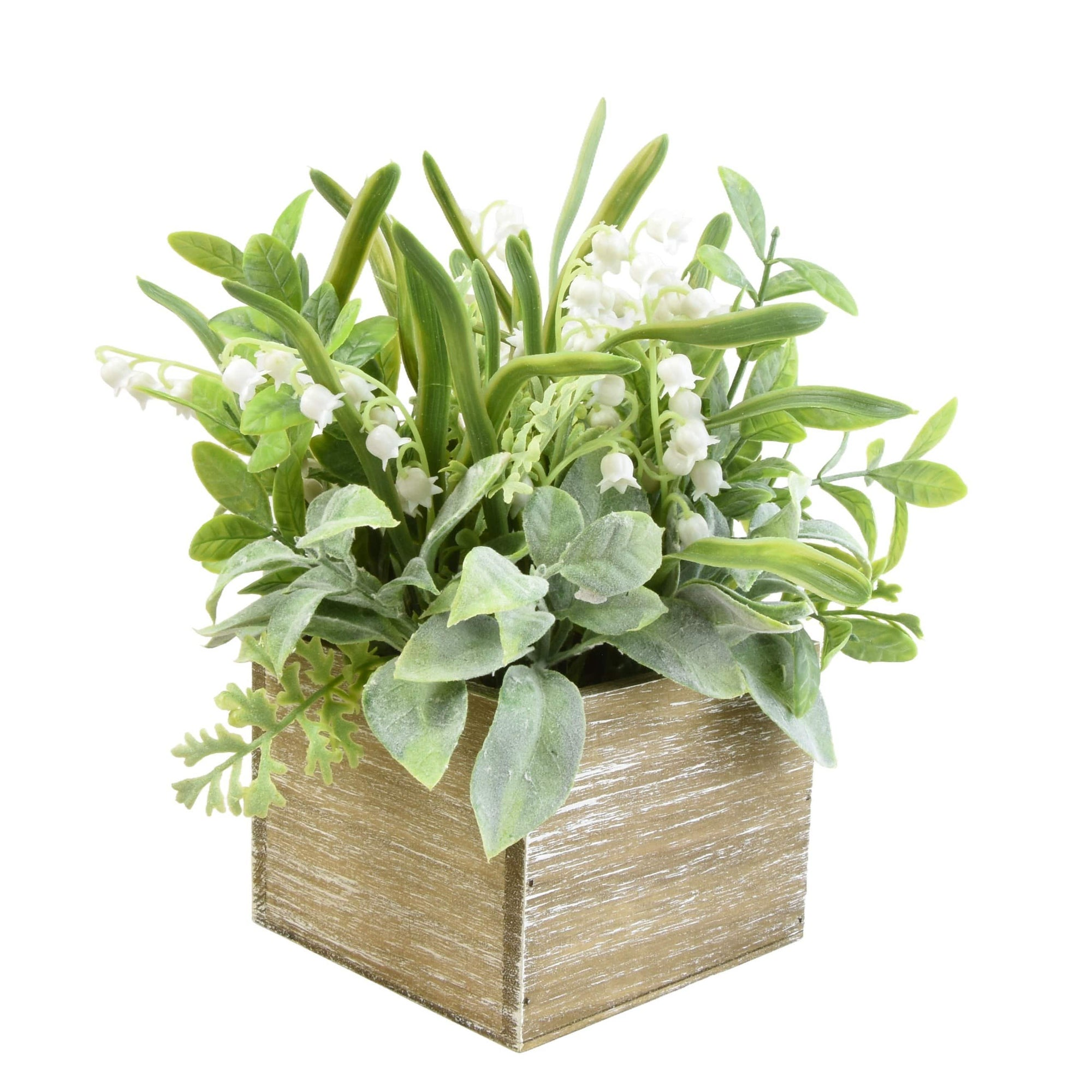 Candlelight Home Faux Herbs and Snowdrops in Rustic Wooden Box 6PK