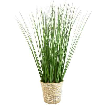 Candlelight Home Faux Tall Grass in Rattan Basket 53cm 4PK