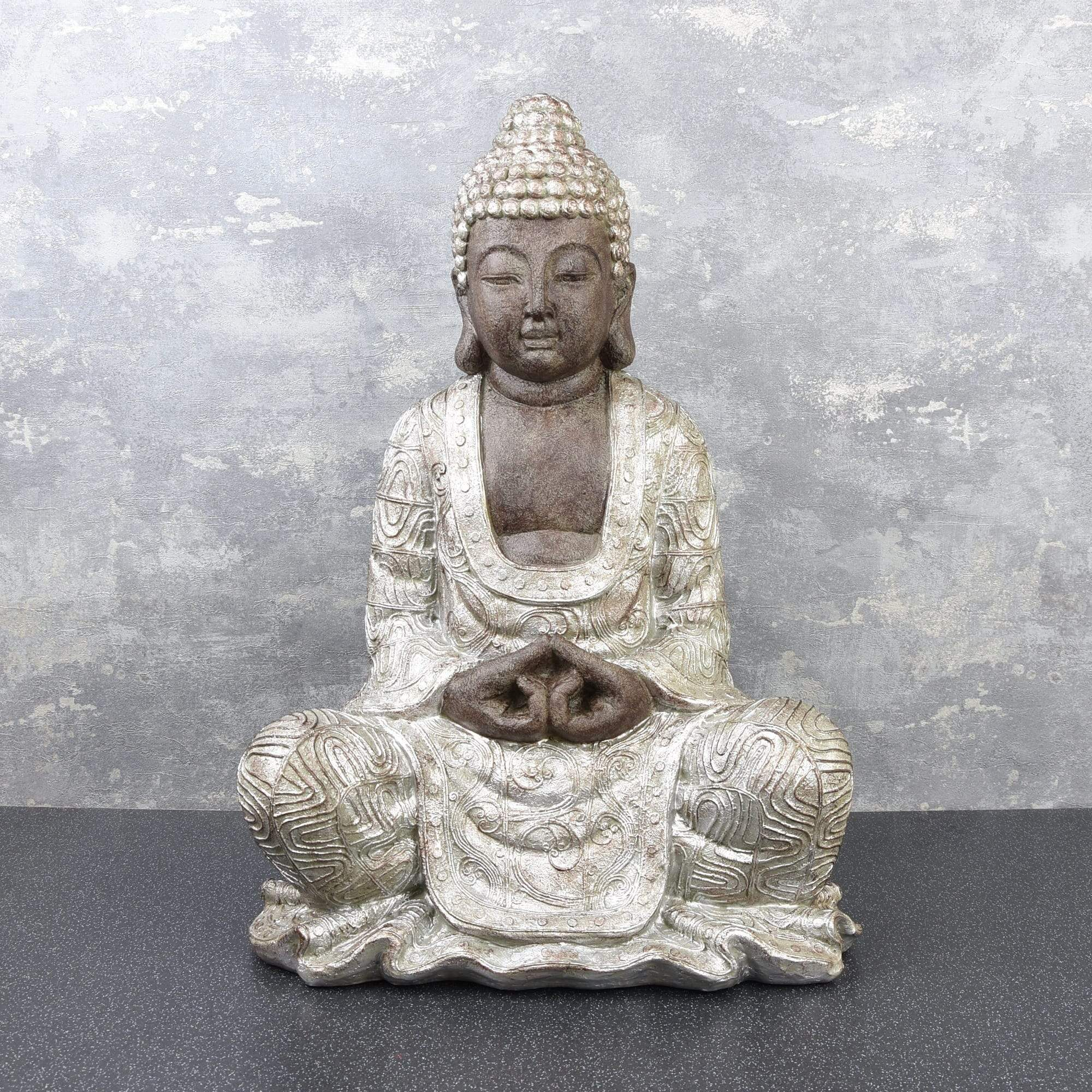 Large Sitting Buddha Ornament Black and Silver 47.5cm 1PK