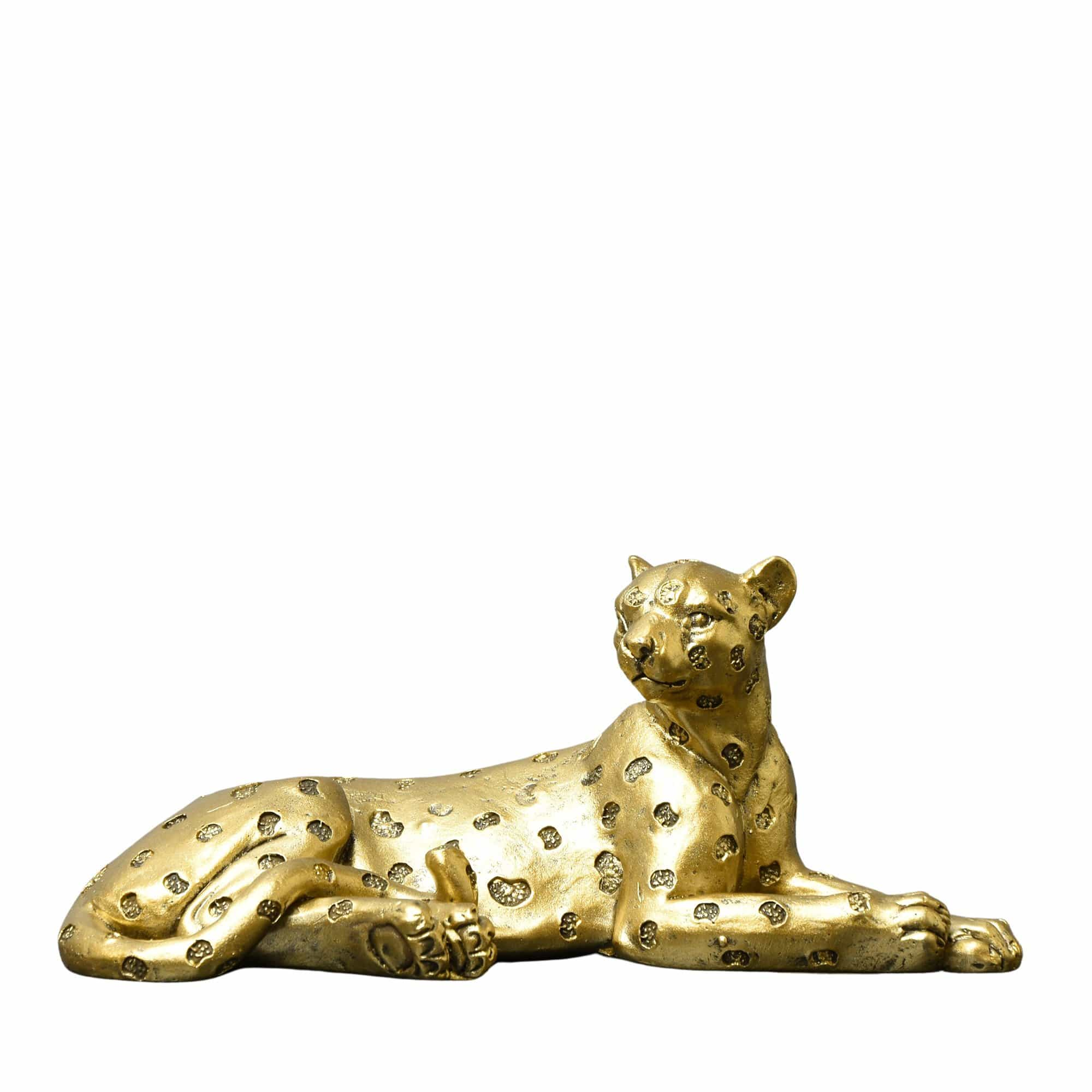Candlelight Home Figures Laying Leopard Ornament Antique Gold 7cm 4PK
