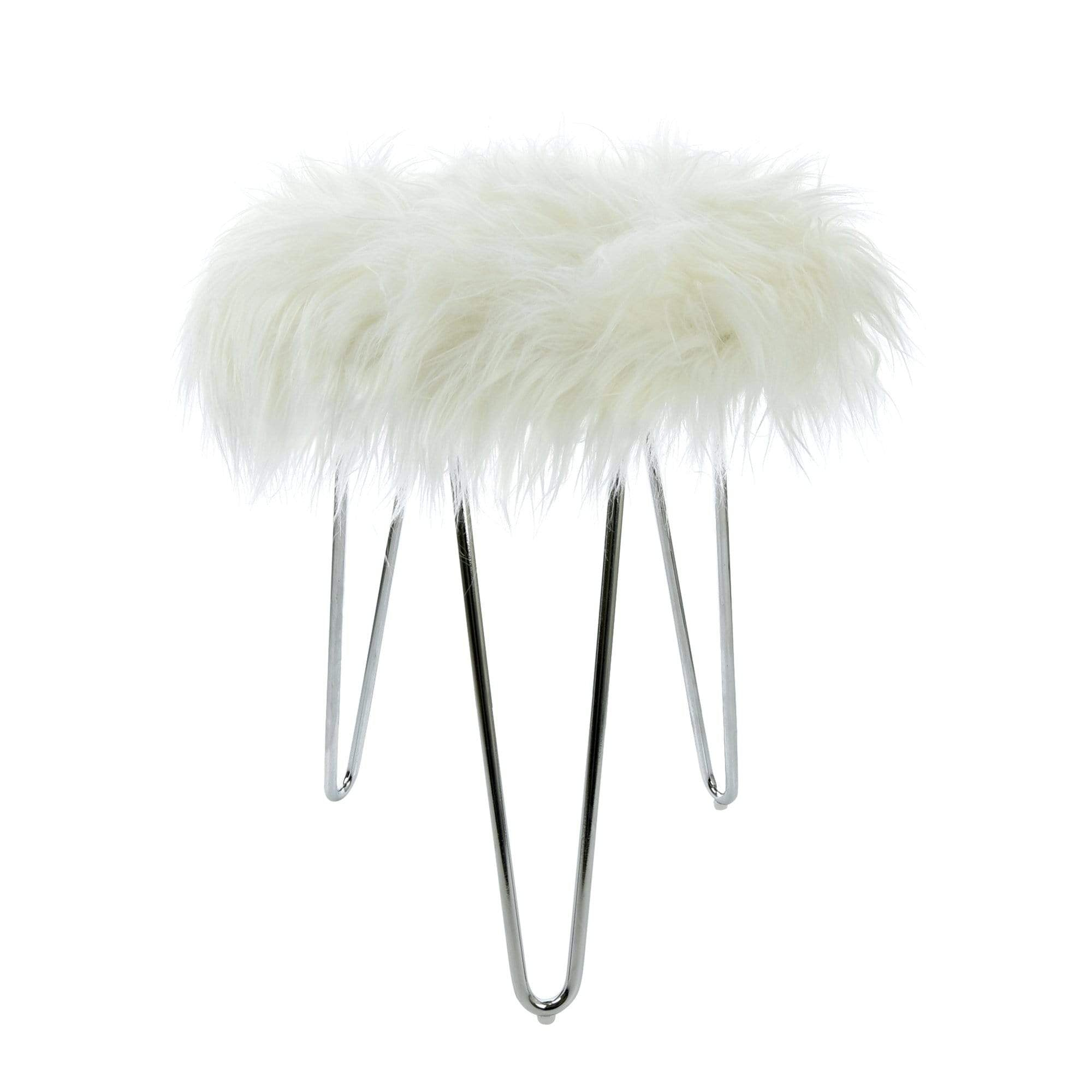 Fluffy Footstool with Chrome Legs White 43cm 1PK