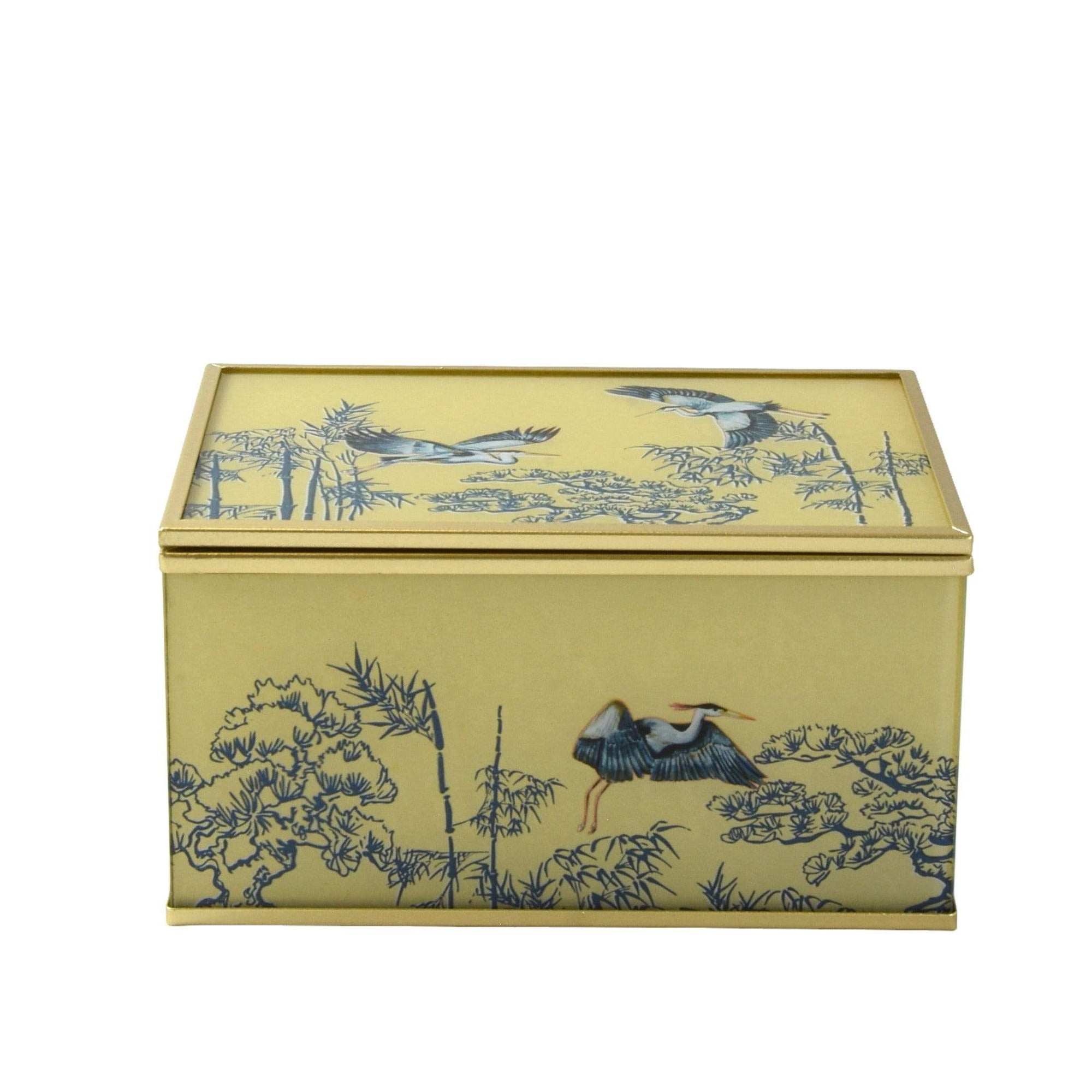 Glass Jewellery Box in Oriental Heron Design with Bevelled Edge 3PK