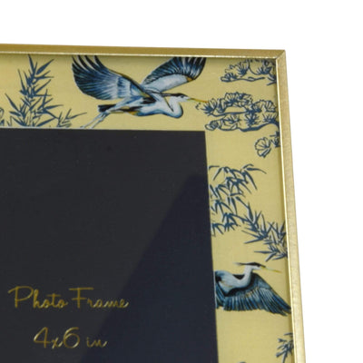 "Candlelight Home Glass Photo Frame in Gold Heron Design with Bevelled Edge 4"" x 6"" 6PK"