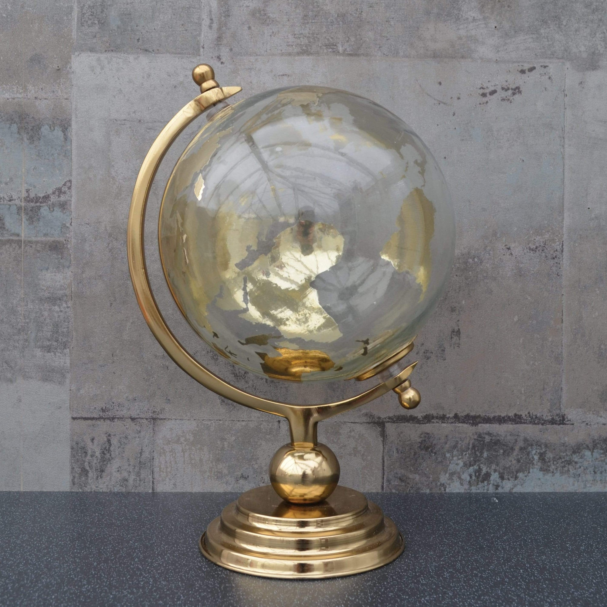 Candlelight Home Globes Large Glass Globe on Metal Stand Gold 32cm 1PK