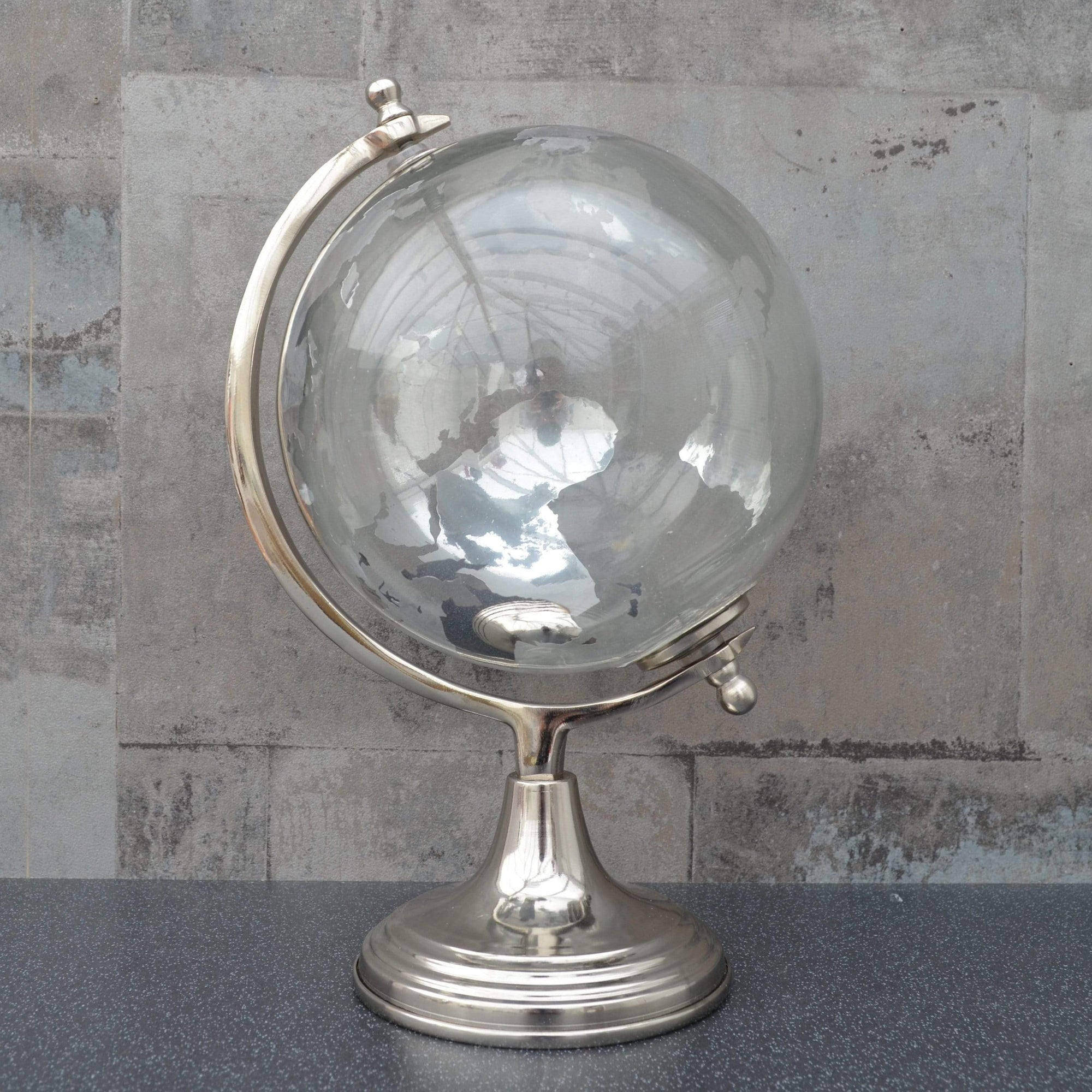 Large Glass Globe on Metal Stand Silver 32.5cm 1PK