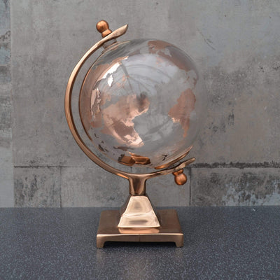 Candlelight Home Globes Small Glass Globe on Metal Stand Copper 24cm 1PK