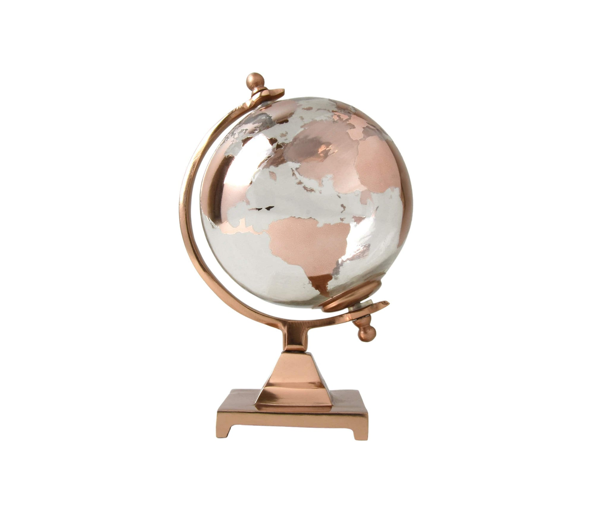 Small Glass Globe on Metal Stand Copper 24cm 1PK