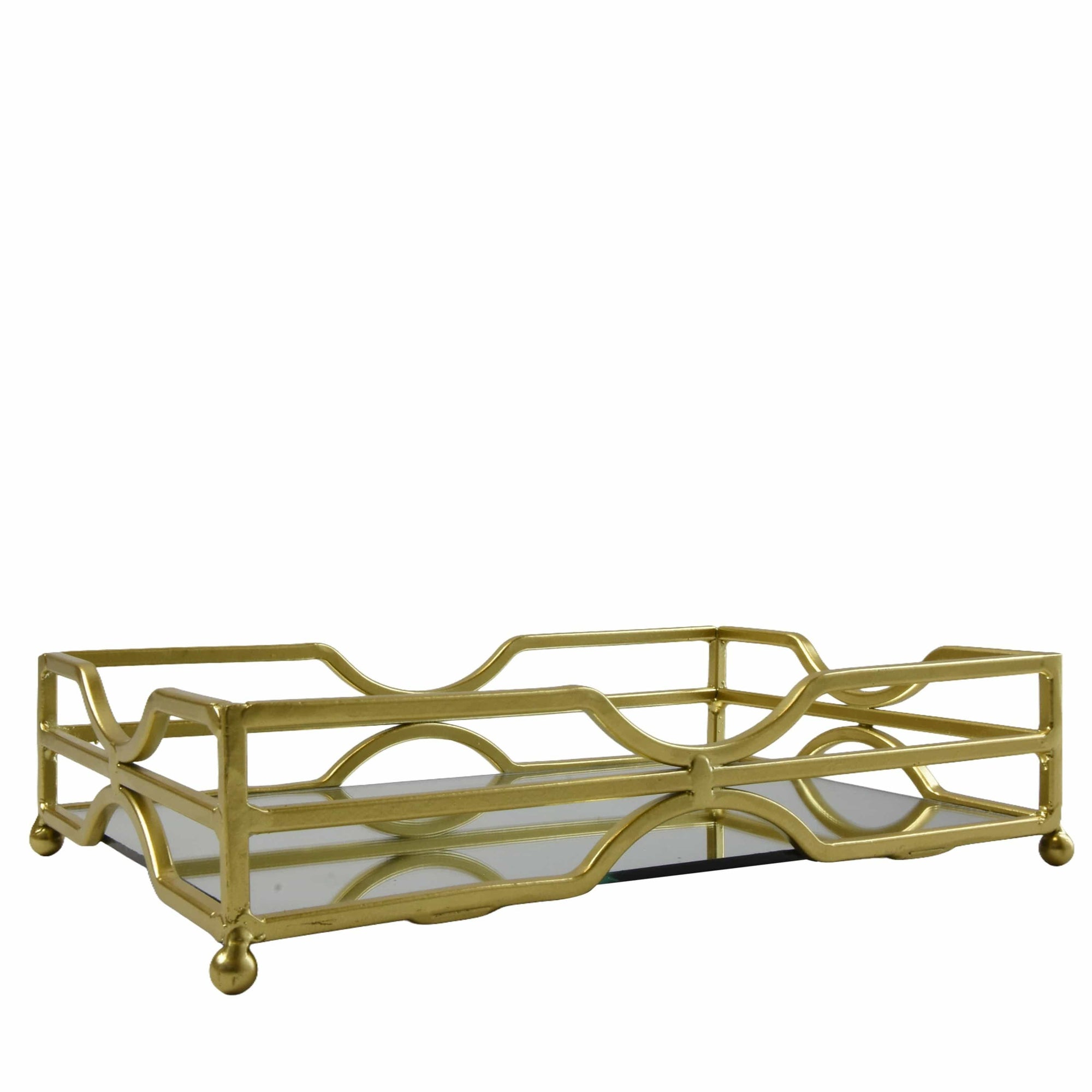 Candlelight Home Gold Rectangular Mirrored Tray