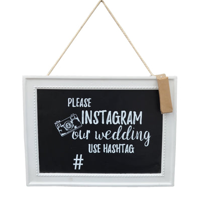 Candlelight Home Hanging Plaque Instagram our Wedding Chalkboard with Chalk Black 35 x 26cm 6PK