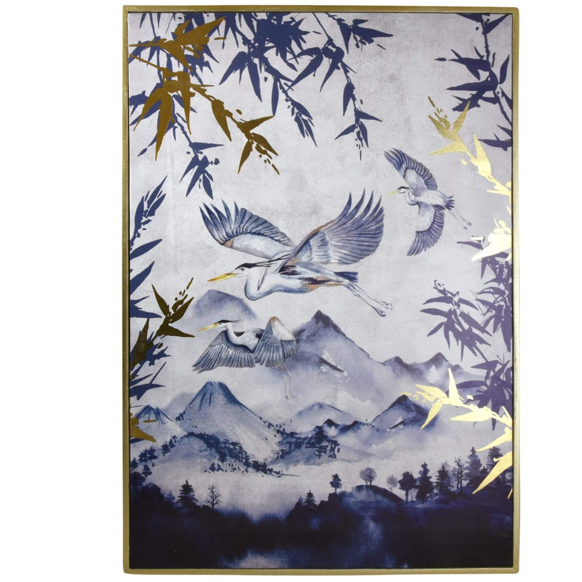 Oriental Heron Design Canvas Print with Gold Wooden Frame 50x70 cm 2PK