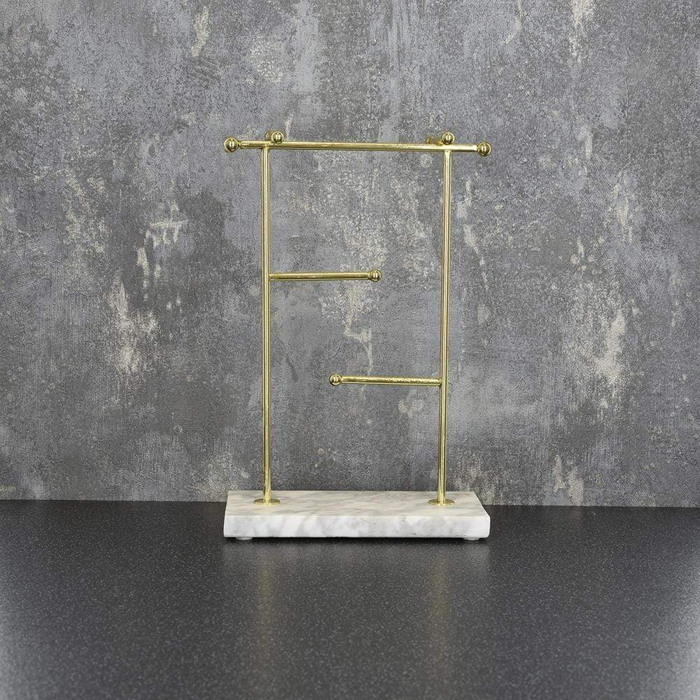Candlelight Home Jewellery Stands Jewellery Stand on Marble Effect Base Gold 25cm 4PK