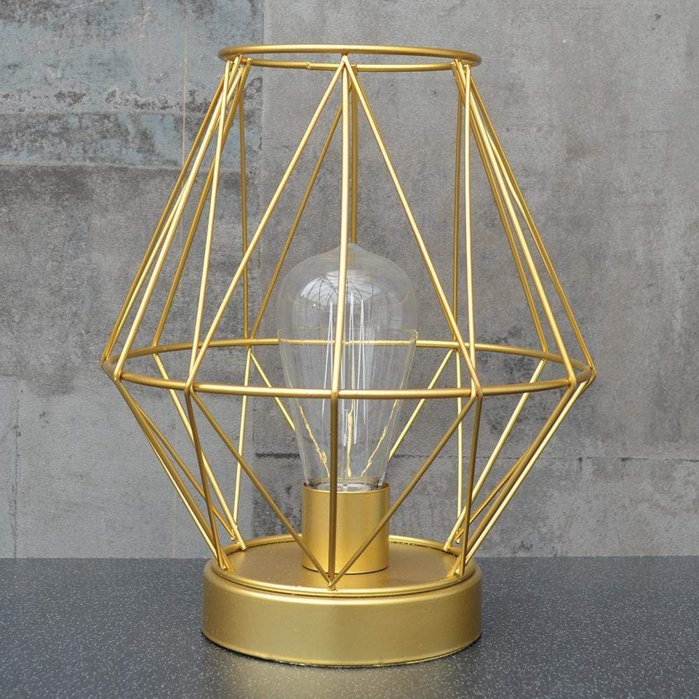 Geometric LED Lantern Gold 24.5cm 1PK
