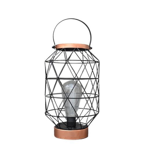 Oval Metal LED Lantern Rose Gold 29cm 1PK