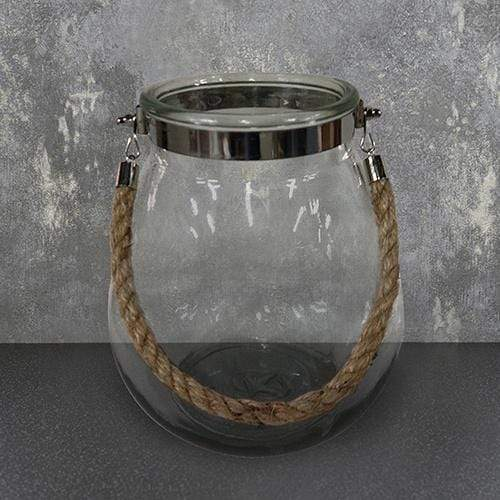 Small Glass Candle Holder with Rope Hanger Clear 23cm 1PK