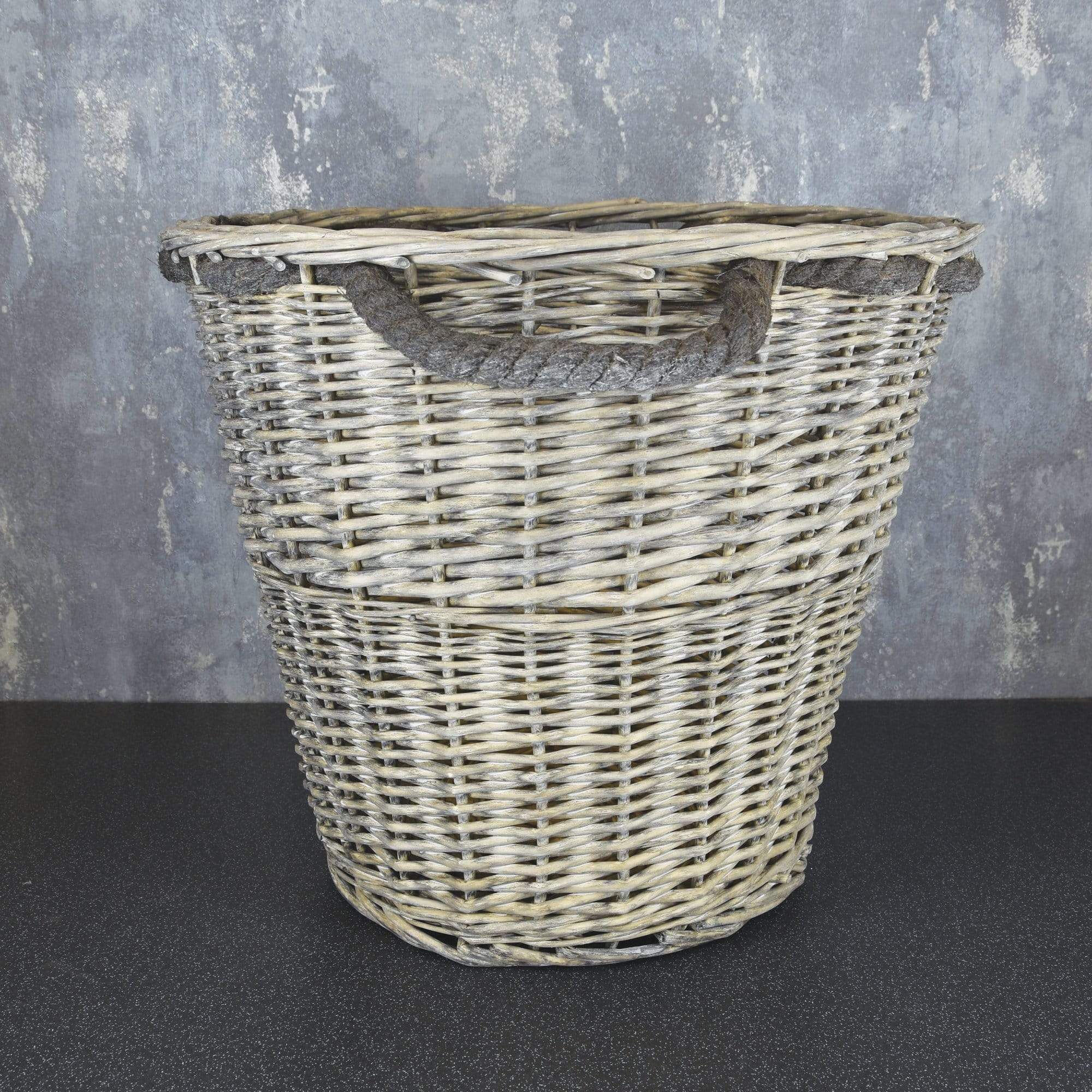Log Basket withRope Handles Large Grey Wash 44cm 1PK