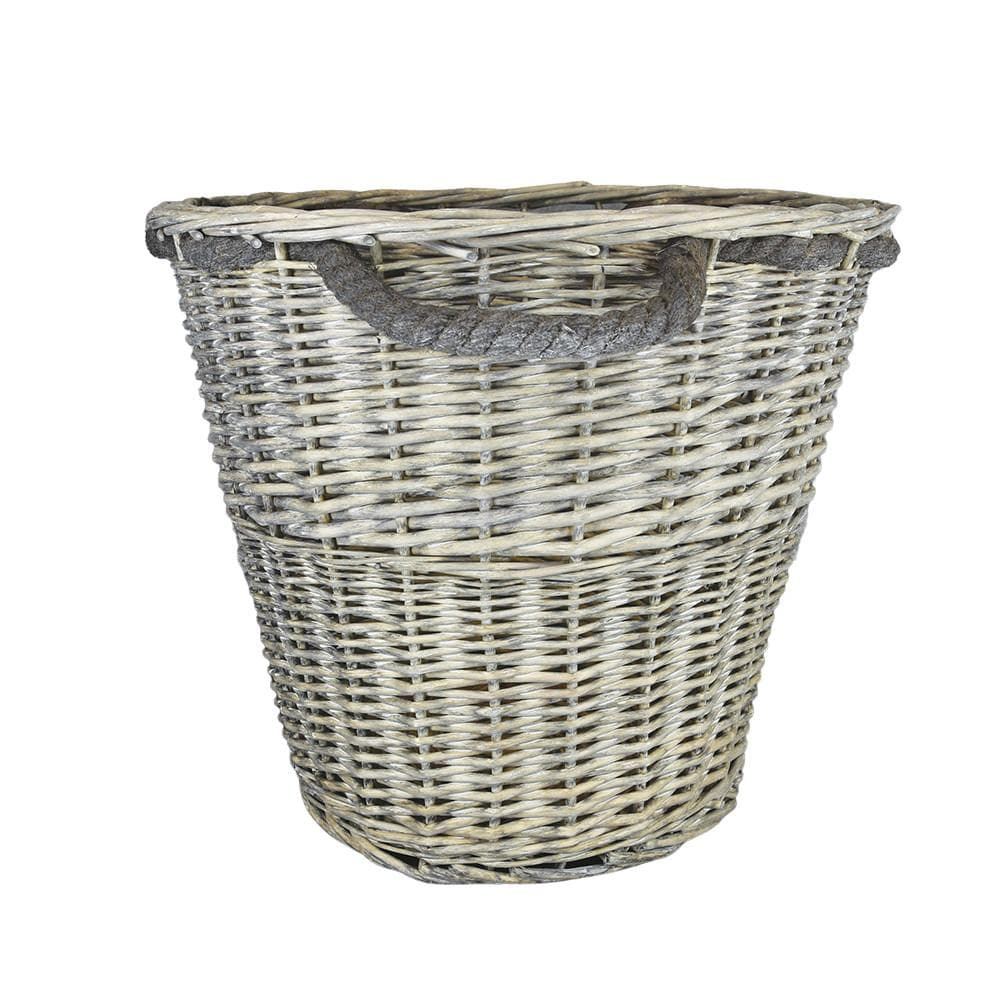 Log Basket with Rope Handles Large Grey Wash 44cm 1PK