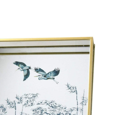 Candlelight Home Mirrored Glass Tray in Gold with Heron Design 3PK