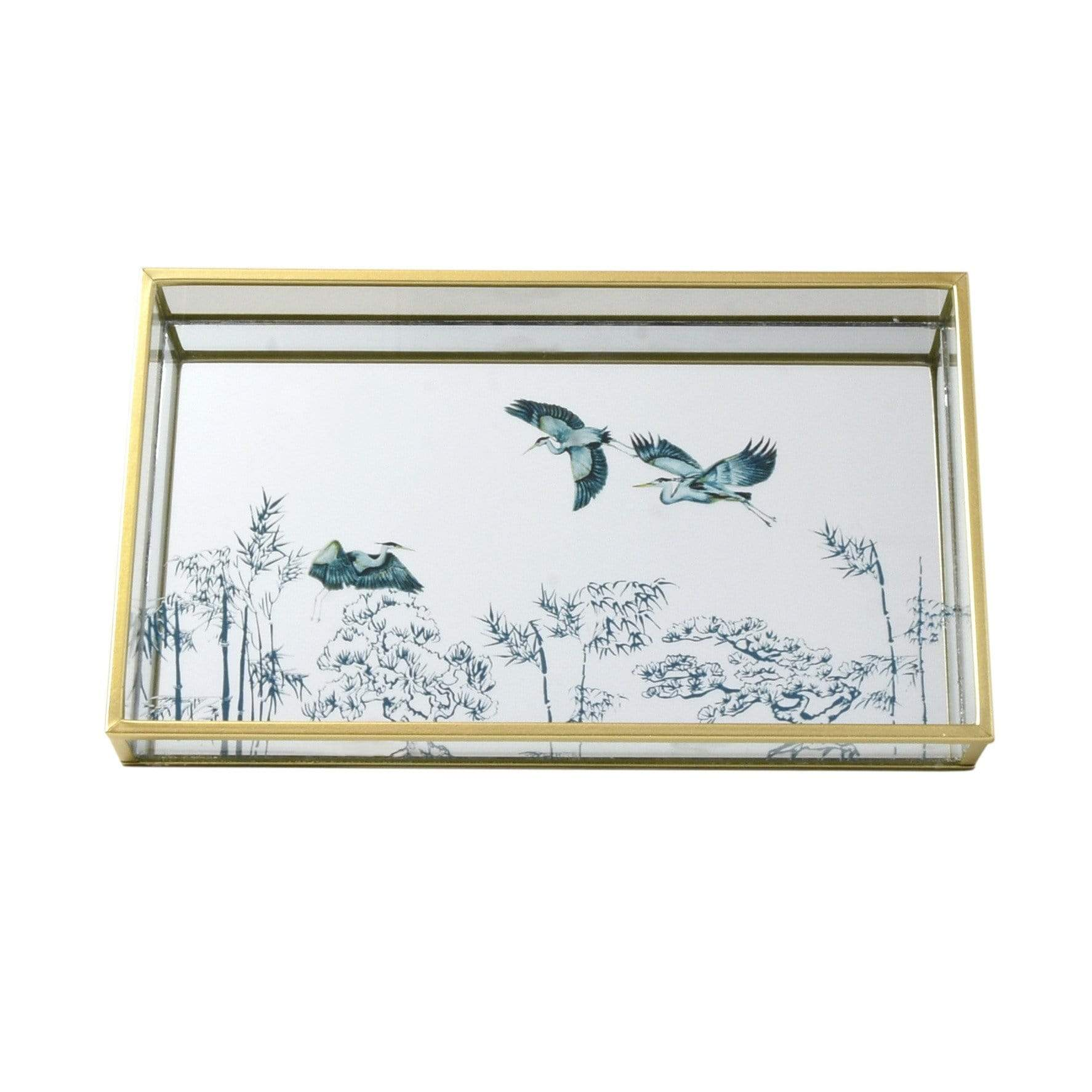 Mirrored Glass Tray in Gold with Oriental Heron Design 3PK