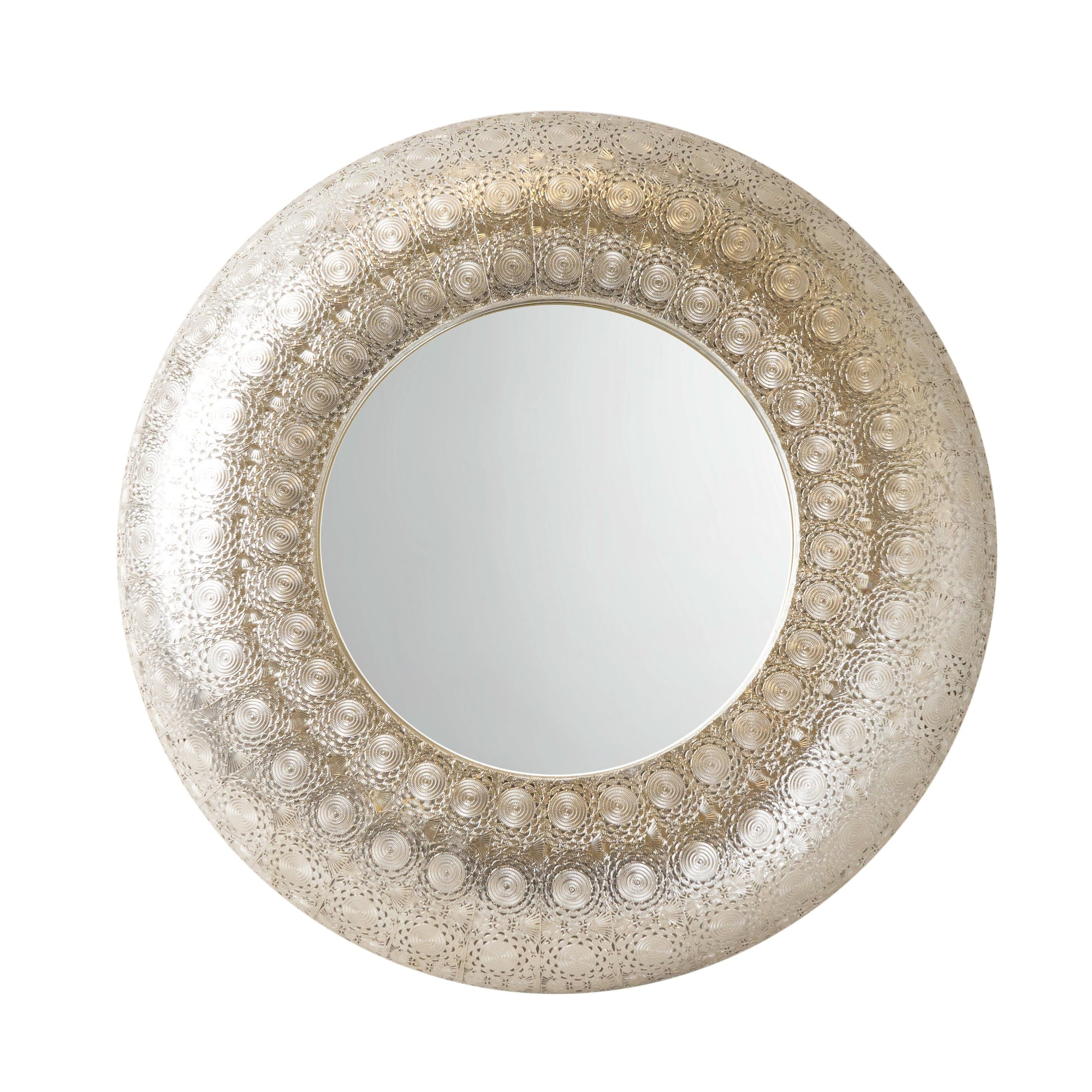 Moroccan Cut Out Filigree Silver Round Mirror 72cm 1PK