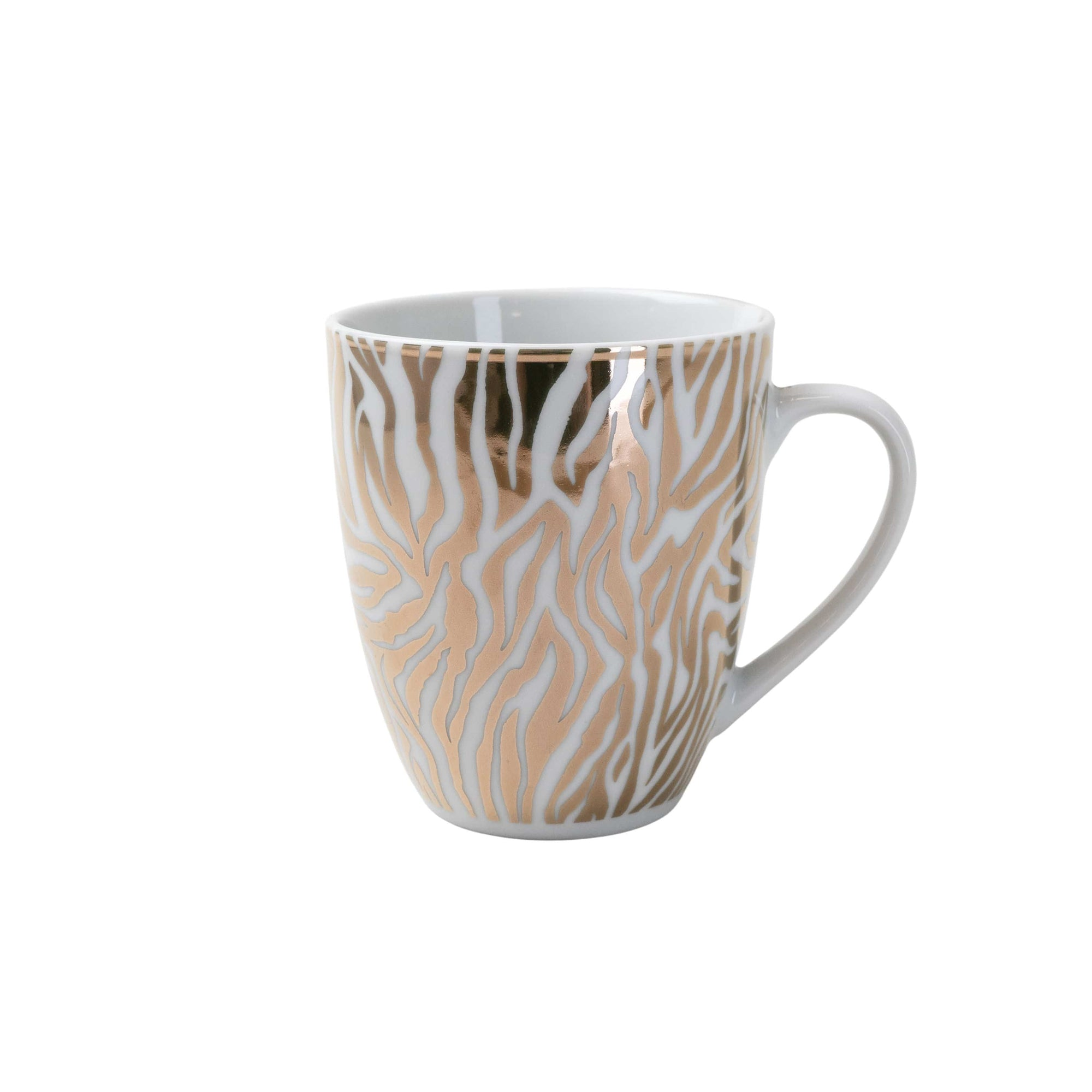 Candlelight Home Mug Animal Luxe Curved Mug Zebra Print Gold 6PK