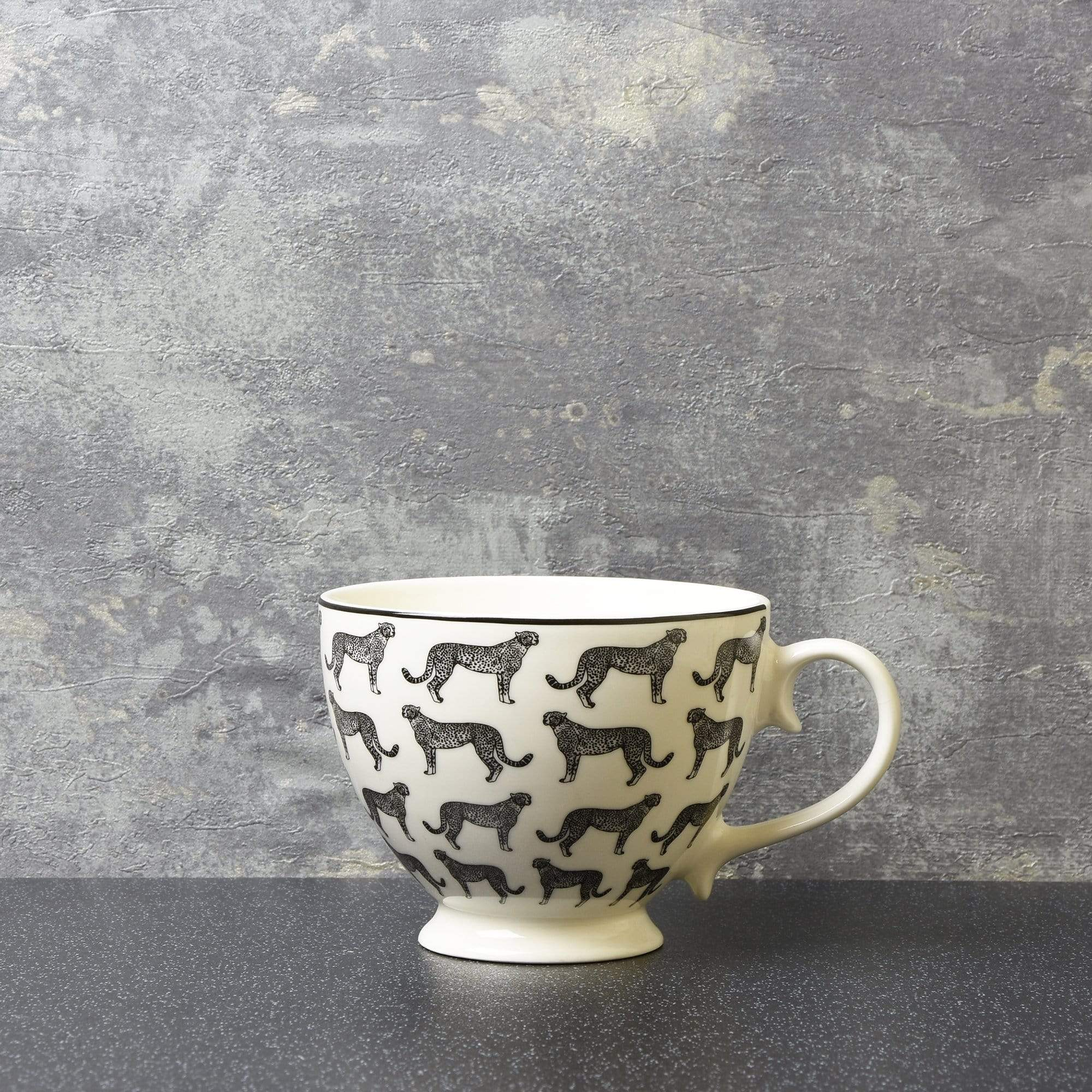 Animal Luxe Footed Mug All Over Leopard Print Black 6PK